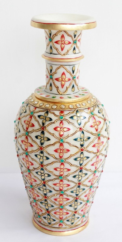 Craft International Marble Gold Painted Stoneware Vase(14 inch, White)