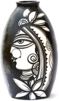 Art Godaam Hand painted Terracotta Vase(9 inch, Black, White)