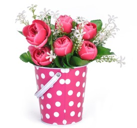 Tiedribbons Iron Vase(4 inch, Pink)