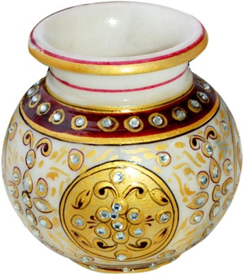Shreeng Kundan Work Marble Vase : Marble Flower Vases Gold Plated Vase(4 inch, Multicolor)