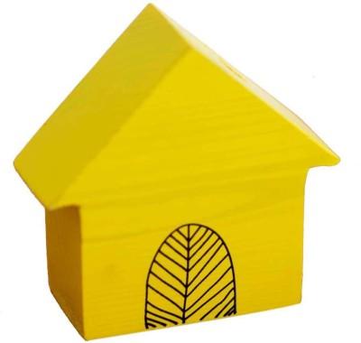 PoppadumArt Itsy-Bitsy - Hut Wooden, Glass Vase(4 inch, Yellow)