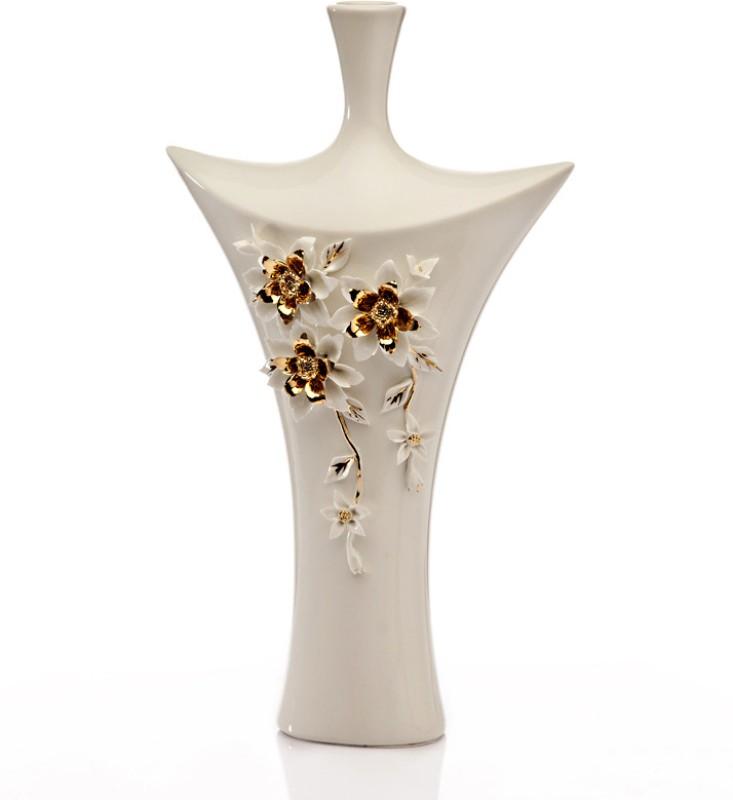 Importwala.com Raised Floral Motif Vase(19.6 inch, White)