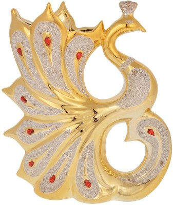 Dharmaraj Links Peacock Porcelain Vase(9.055123 inch, Gold)