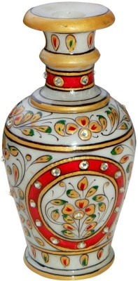 Shreeng Colorful Gold Marble Piece : Marble Flower Vases Gold Plated Vase(9 inch, Multicolor)