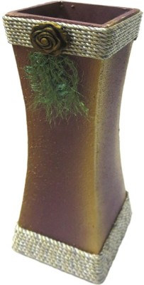 Flowers Forever Silver Color Thread Design with Small Flower Attractive Wooden Vase(12 inch, Brown)
