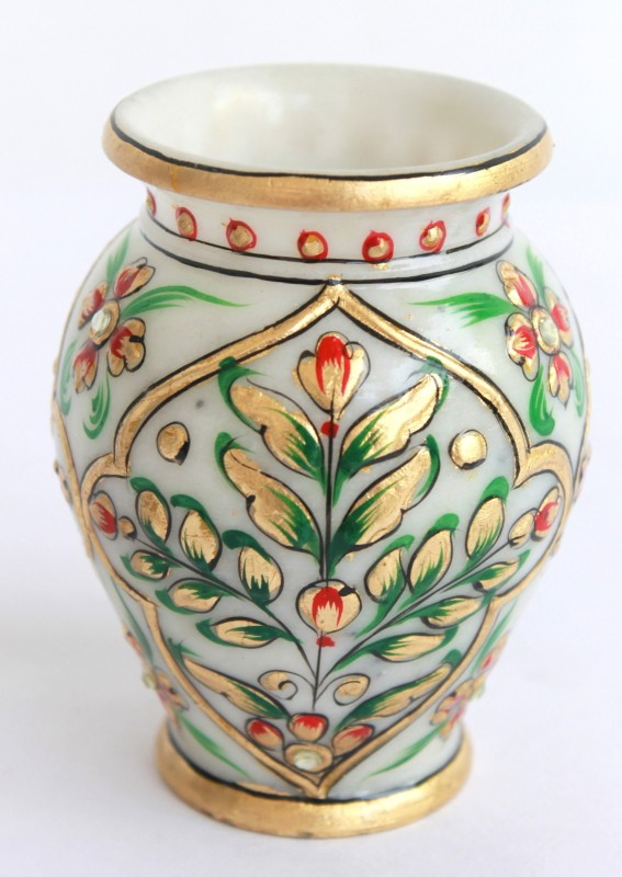 Craft International Marble Gold Painted Stoneware Vase(4 inch, White)