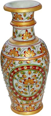 Shreeng Kundan & Meenakari Work Vase : Marble Flower Vases Gold Plated Vase(9 inch, Multicolor)