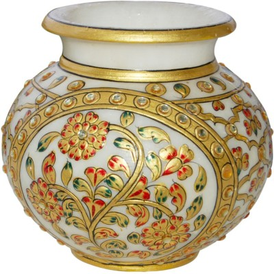 Shreeng Terrific Gold Work Vase : Marble Flower Vases Gold Plated Vase(5 inch, Multicolor)