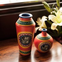 ExclusiveLane Set of 2 Handpainted with Madhubani Art Terracotta Vase(9 inch, Orange)