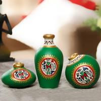 ExclusiveLane Terracotta Warli Handpainted Pots Bright Green Set Of 3 Terracotta Vase