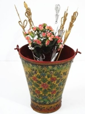 Artlivo Popart Yellow Flowers Bucket Iron Vase(12 inch, Multicolor)