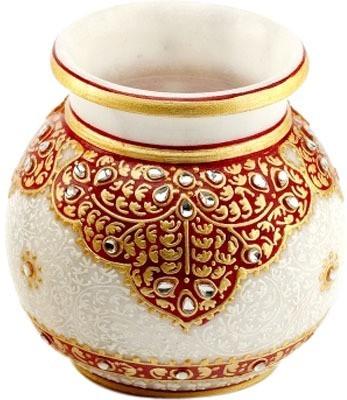 Jaipurikala Marble Flower With Meenakari Work And Kundan Gold Plated Vase