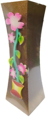 Flowers Forever Pink Flower Design with Microfibre Vase(16 inch, Multicolor)