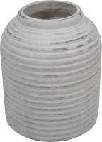 GolMaalShop Ribed Flower Wooden Vase(6 inch, White)