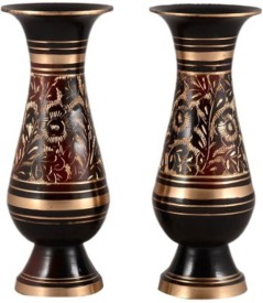 Glori-fyi Antique Handcrafted Vases-Pair Brass Vase(6 inch, Multicolor)