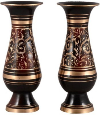 Glori-fyi Antique Handcrafted Vases-Pair Brass Vase(6 inch, Multicolor)