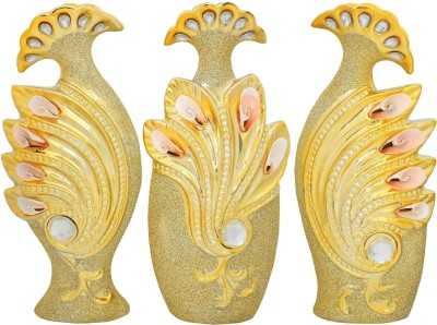 K.S Set of 3 Royal peacock vases Ceramic Vase(11.700000000000001 inch, Gold)