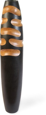 @home WDN Small Wooden Vase(7 inch, Black)