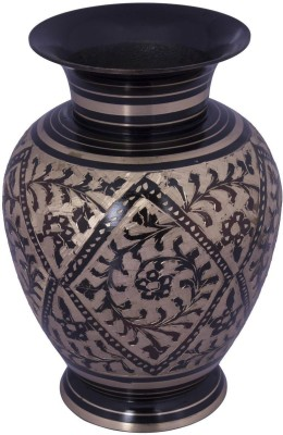 Craft Art India Brown Handcrafted Brass Decorations Flower Vase With Carving Of Mughal Art (7.5 Inches) Brass Vase