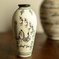 ExclusiveLane Handpainted Warli Round Terracotta Vase(6.0 inch, White)
