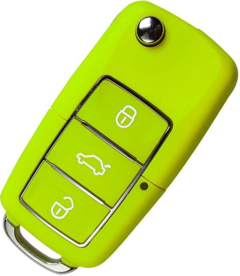 1-KEY Flip Key Shell For Skoda Octavia, Laura, Superb, Fabia 3 Button (Green) Car Key Cover