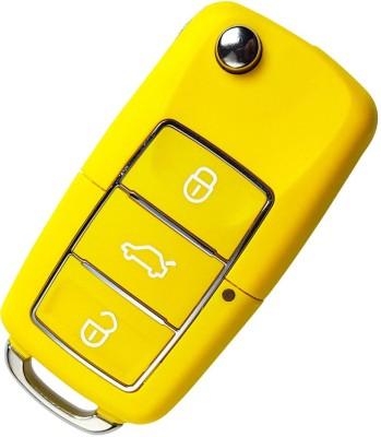 Flip Key Shell For Skoda Octavia, Laura, Superb, Fabia 3 Button (Yellow) Car Key Cover