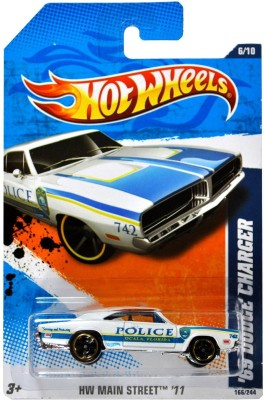 Hot Wheels HW MAIN STREET - Ocala Florida Police White Muscle Car ,69 DODGE CHARGER (T9873)