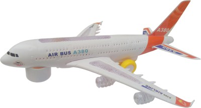 Flipzon Airbus A380 Airplane Toy With Lights Effect & Self Rotating
