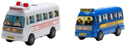 Centy Pack of 2 Mini Ambulance and Mini School Bus