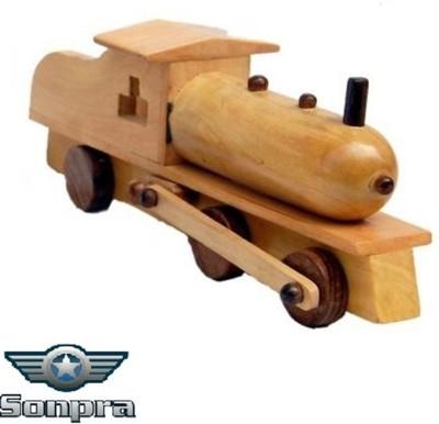 Sonpra Antique Wooden Handicraft Steam Engine Toy- (1 to 7 Year)