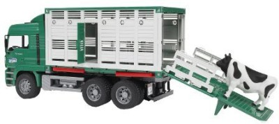 Bruder Toys Man Cattle Transportation Truck Incl 1 Cow