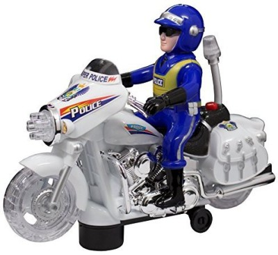 Techege Toys Motorcycle Police Officer With Flashing Lights Bump,N,Go