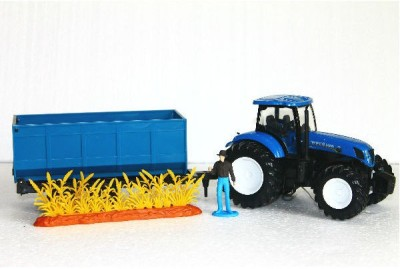 NewRay 1:32 New Holland Tractor T7.270 With Grass Trailer
