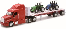 New Ray 1:32 Peterbilt Model 387 Flatbed Trailer With Two Farm Tractors(Multicolor)