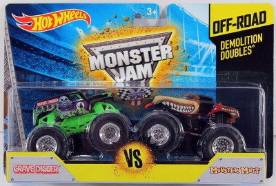 Hot Wheels Monster Jam Off-Road Demolition Doubles Grave Digger Vs. Monster Mutt
