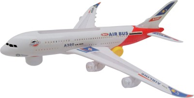 Flipzon Airbus A380 Airplane Toy with Colorful Lights Effect & Self Rotating