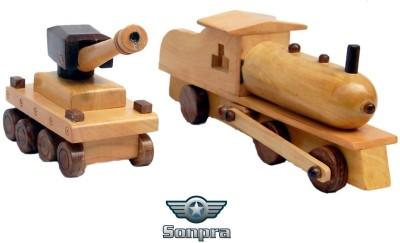 Sonpra Baby Wooden Toys - Antique Handicraft Tank Steam Engine