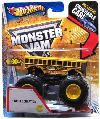 Hot Wheels RELEASE HIGHER EDUCATION SCHOOL BUS MONSTER JAM WITH CRUSHABLE CAR