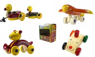 CeeJay Set of 4 Colorful Wooden Baby Toys:Model OW-OW014