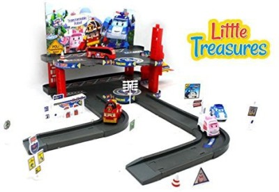 Little Treasures Kids Transferable Robot Educational Parking Garage Play Set