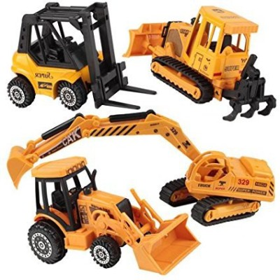 Happy Cherry Metal Diecast Construction Vehicle Excavator Backhoe Tractor Pack of 4 Yellow