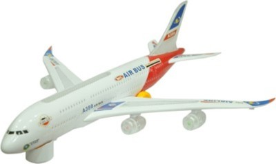 SMT Musical Plane Bump And Go With Lights(White)