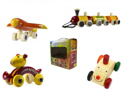 CeeJay Set of 4 Colorful Wooden Baby Toys:Model OW-OW001