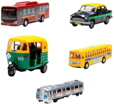 A M Enterprises Plastic Car Toy- Set of 5