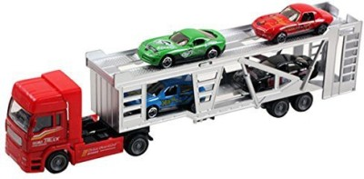 Happy Cherry Transport Trailer Car Carrier Truck Toy for Boys Girls (includes 4 Cars)