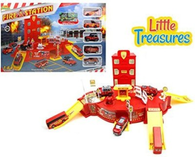 Little Treasures Fire-Station With Fire Trucks Emergency