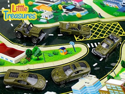 Little Treasures Die-Cast Army Fleet Alloy Toy Car Models Military Set Of 5 Vehicles