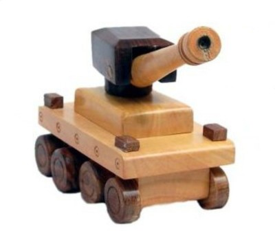 Sonpra Antique Wooden Handicraft Tank Toy- (1 to 7 Year)