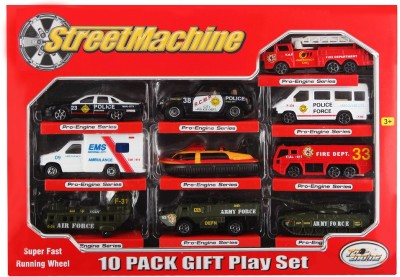 Just Toyz Street Machine Die Cast Metal Super Fast Running Wheel 10 Cars Gift Set