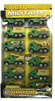 Victorious 12 Pack Miltiary Pull Back Truck Set